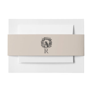 Clay Love Birds Wreath Custom Initial Belly Band Invitation Belly Band