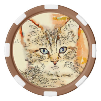 "Clay Poker Chips - ""Blue Eyed Kitty"""