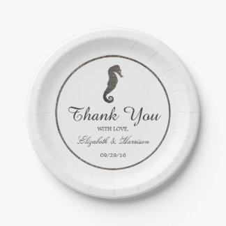 Clay Seahorse Beach Wedding Paper Plate