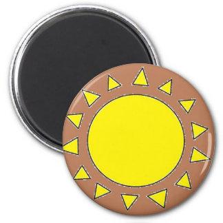 Clay Sun Symbol 6 Cm Round Magnet