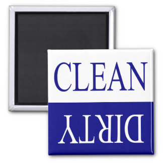 Clean dirty-blue dishwasher magnet
