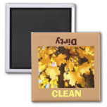 Clean Dirty Dish Washer magnet Golden Autumn