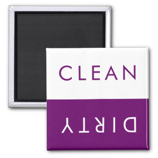 Clean Dirty Dishwasher Magnet in Purple & White