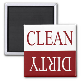 Clean dirty-maroon dishwasher magnet