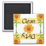 Clean or Dirty Sunflowers 2 Dishwasher Square Magnet