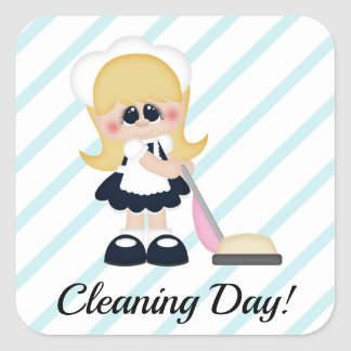 Cleaning Lady Maid Vacuum Stripe Planner Sticker