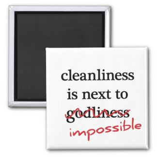"""Cleanliness is next to impossible"" magnets"