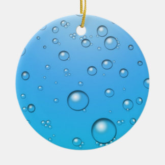 Clear Bubbles, Blue Water Round Ceramic Decoration