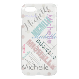 Clear Polka Dot with Name iPhone SE/8/7 Case