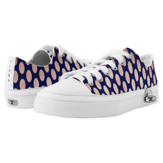 clear rose gold navy blue foil polka dots pattern printed shoes