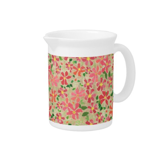 Clematis Pink, Red, Orange Floral Pattern on Taupe Beverage Pitchers
