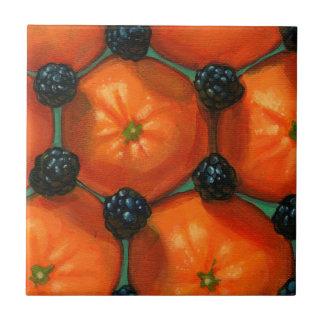 Clementines & Blackberries Ceramic Tile