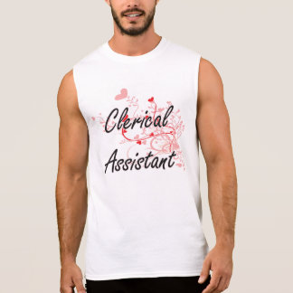 Clerical Assistant Artistic Job Design with Hearts Sleeveless Shirts
