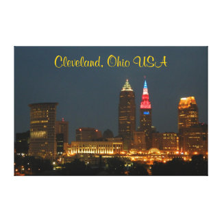 Cleveland, Ohio Red White and Blue Canvas Print