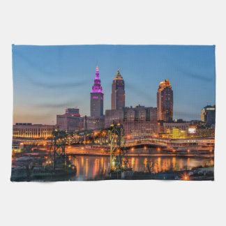 Cleveland Skyline at Sunset Tea Towel