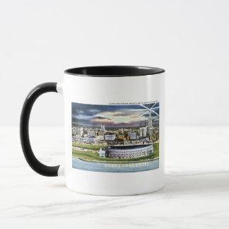 Cleveland Stadium Skyline at Dusk, Cleveland, Ohio Mug