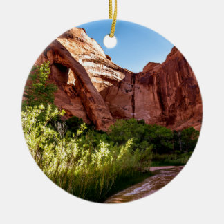 Cliff Arch Sunrise - Coyote Gulch - Utah Round Ceramic Decoration