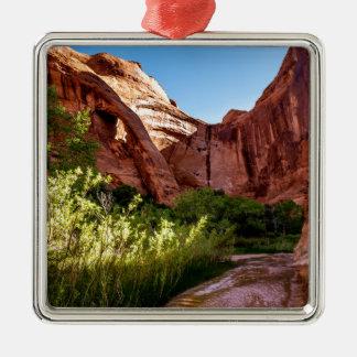 Cliff Arch Sunrise - Coyote Gulch - Utah Silver-Colored Square Decoration