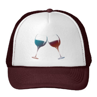 Clinking Sparkle Wine Glasses Art Trucker Hats