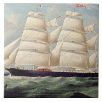 Clipper Barque 'Clendovey' (oil on canvas) Tile