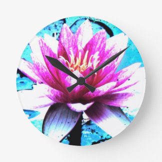 Clock abstract bloom turquoise pink