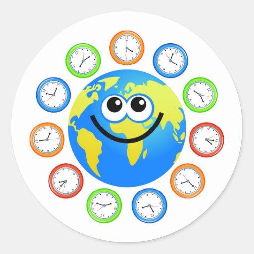 Clock Globe Round Stickers