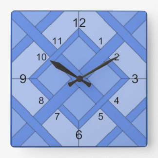 Clock - Interwoven Squares in Blue