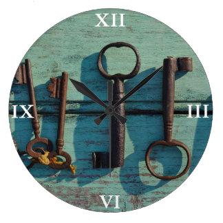 Clock: Old Skeleton Keys Large Clock
