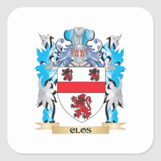 Clos Coat of Arms - Family Crest Square Sticker