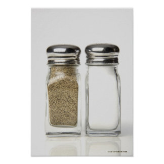Close-up of a salt and a pepper shaker 2 print