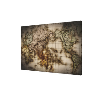 close up of antique world map canvas print