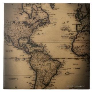 Close up of antique world map tile