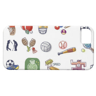 Close-up of different type of sports equipments iPhone 5 cover