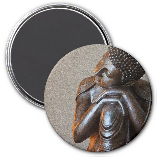 Close up of peaceful silver Buddha Magnets