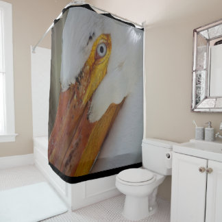 Close Up of White Pelican with Blue Eye Shower Curtain