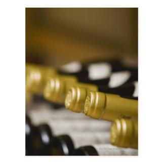 Close up of wine bottle tops postcard
