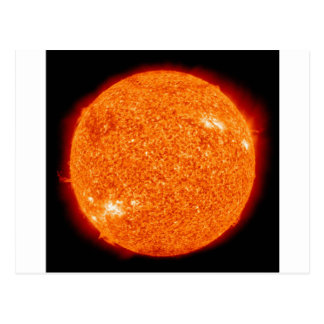 Close up picture of the sun. postcard
