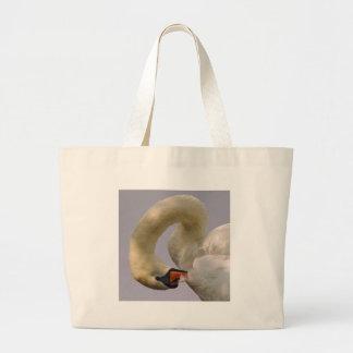 Closeup mute swan large tote bag