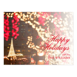 Closeup of Christmas Lights with Tree background Postcard