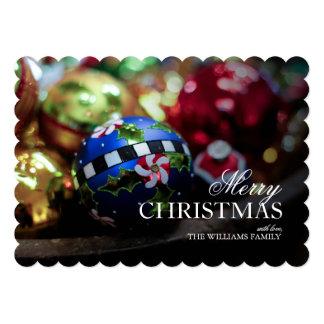 Closeup of Holiday ornaments Card