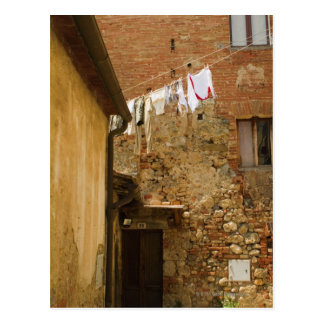 Clothes hanging to dry on a clothesline, postcard