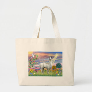 Cloud Angel and Llama Large Tote Bag