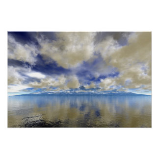 Cloud Covered Distant Ocean Mountains Poster