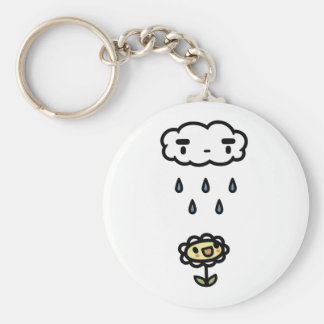 Cloud Raining On Happy Flower Basic Round Button Key Ring