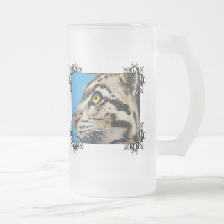 Clouded Leopard Frosted Glass Mug