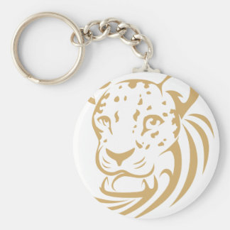 Clouded Leopard in Swish Drawing Style Basic Round Button Key Ring
