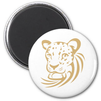 Clouded Leopard in Swish Drawing Style 6 Cm Round Magnet