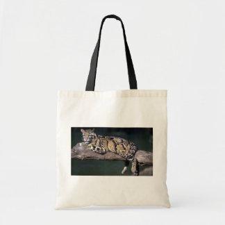 Clouded Leopard on log Canvas Bag