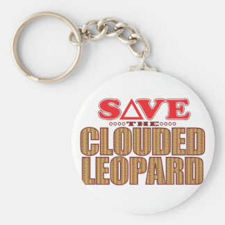 Clouded Leopard Save Basic Round Button Key Ring