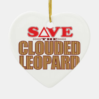 Clouded Leopard Save Ceramic Heart Decoration